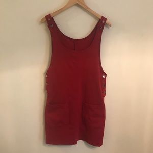 Vintage red jumper dress with pockets S
